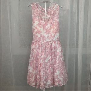 pink and white floral occasion dress